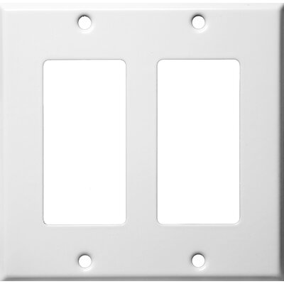 Two Gang Decorator and GFCI Metal Wall Plates in White (Set of 4)