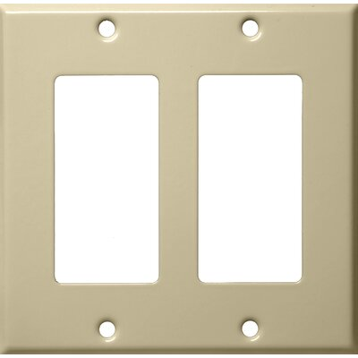 Two Gang Decorator and GFCI Metal Wall Plates in Ivory (Set of 4)