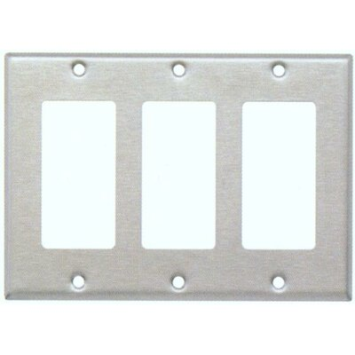 Three Gang Decorator and GFCI Metal Wall Plates in Stainless