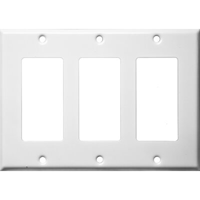 Three Gang Decorator and GFCI Metal Wall Plates in White