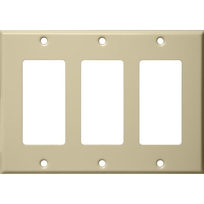 Three Gang Decorator and GFCI Metal Wall Plates in Ivory (Set of 3)