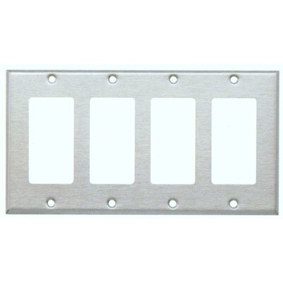 Four Gang Decorator and GFCI Metal Wall Plates in Stainless