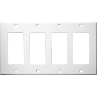 Four Gang Decorator and GFCI Metal Wall Plates in White