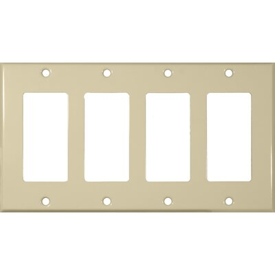 Four Gang Decorator and GFCI Metal Wall Plates in Ivory
