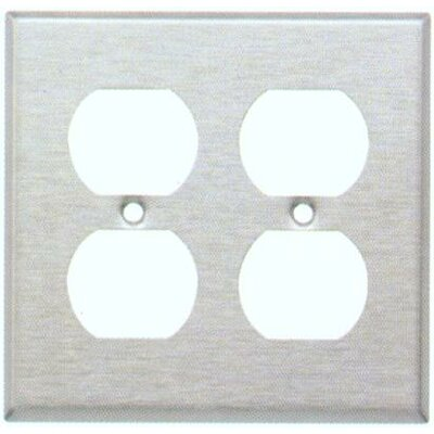 Two Gang and Duplex Receptacle Metal Wall Plates in Stainless (Set of 4)