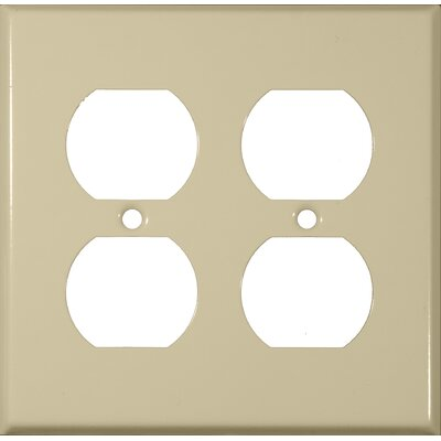 Two Gang and Duplex Receptacle Metal Wall Plates in Ivory (Set of 4)