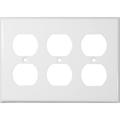 Three Gang and Duplex Receptacle Metal Wall Plates in White (Set of 3)