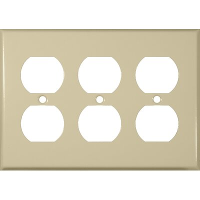 Three Gang and Duplex Receptacle Metal Wall Plates in Ivory (Set of 3)