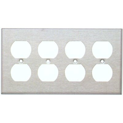 Four Gang and Duplex Receptacle Metal Wall Plates in Stainless (Set of 3)