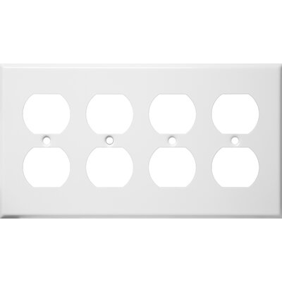 Four Gang and Duplex Receptacle Metal Wall Plates in White (Set of 3)
