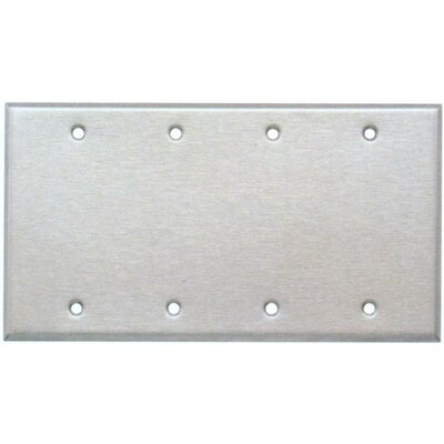 Four Gang and Blank Metal Wall Plates in Stainless (Set of 3)
