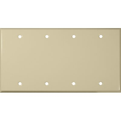 Four Gang and Blank Metal Wall Plates in Ivory