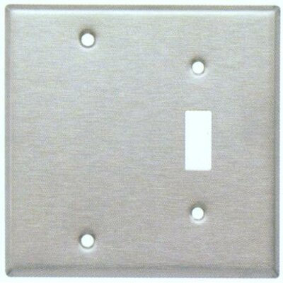 Two Gang / Toggle and Blank Metal Wall Plates in Stainless (Set of 4)