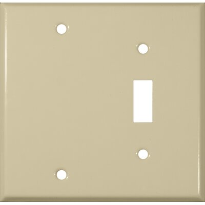 Two Gang / Toggle and Blank Metal Wall Plates in Ivory (Set of 4)
