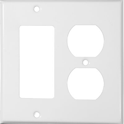Two Gang / GFCI and Duplex Metal Wall Plates in White (Set of 4)