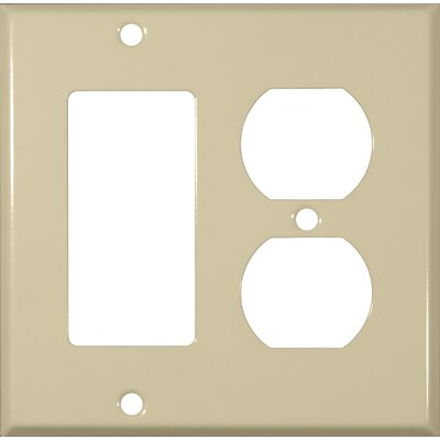 Two Gang / GFCI and Duplex Metal Wall Plates in Ivory (Set of 4)