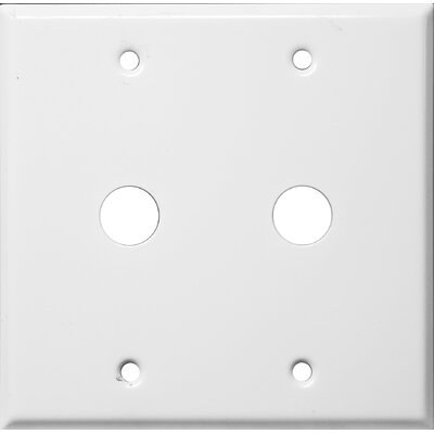 0.63 Two Gang Cable Metal Wall Plates in White