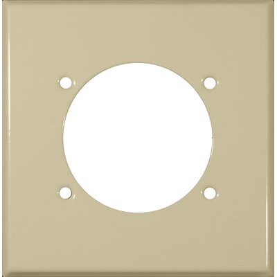 2 Gang Power Outlet Stainless Steel Metal Wall Plates in Ivory