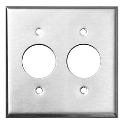 2 Gang 2 Single Receptacles Stainless Steel Metal Wall Plates (Set of 4)