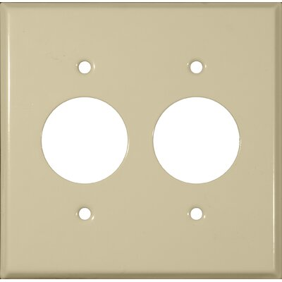 2 Gang 2 Single Receptacles Stainless Steel Metal Wall Plates in Ivory (Set of 4)