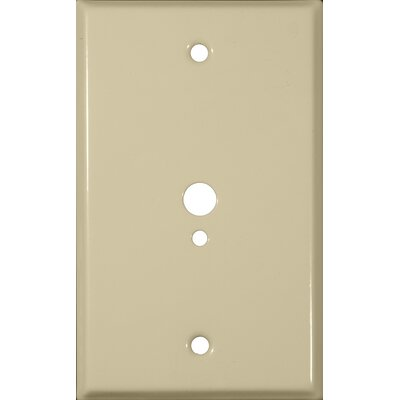 0.37 x 0.18 Stainless Steel Metal Wall Plates 1 Gang 1 Phone 1 Cable in Ivory (Set of 5)