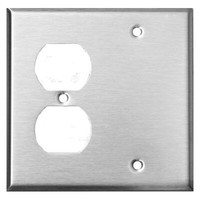 2 Gang 1 Duplex 1 Blank Stainless Steel Metal Wall Plates (Set of 4)
