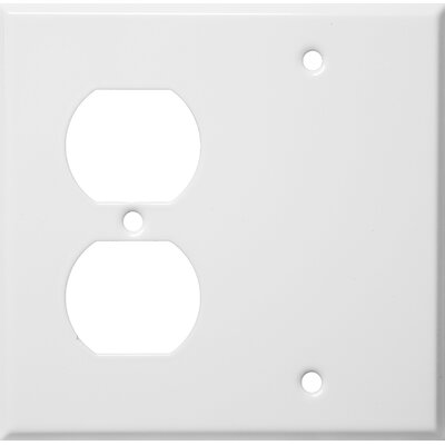 2 Gang 1 Duplex 1 Blank Stainless Steel Metal Wall Plates in White