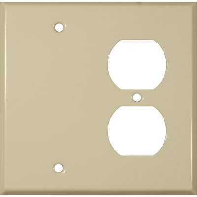 2 Gang 1 Duplex 1 Blank Stainless Steel Metal Wall Plates in Ivory (Set of 4)