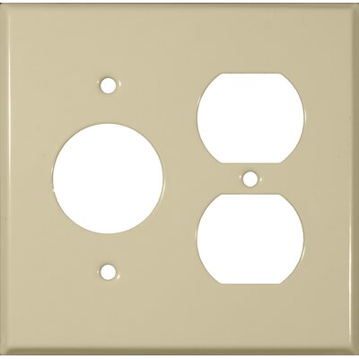 2 Gang 1 Duplex 1 Single Stainless Steel Metal Wall Plates in Ivory (Set of 4)