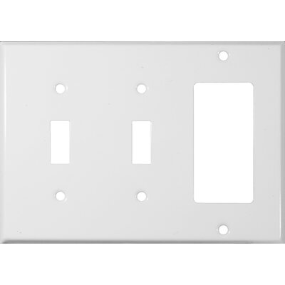3 Gang 2 Toggle 1 GFCI Stainless Steel Metal Wall Plates in White (Set of 3)