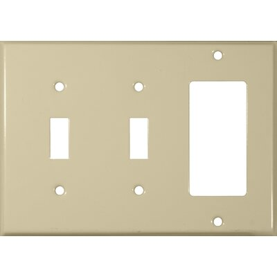 3 Gang 2 Toggle 1 GFCI Stainless Steel Metal Wall Plates in Ivory