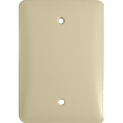 Midsize 1 Gang Blank Stainless Steel Metal Wall Plates in Ivory