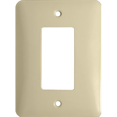 Midsize 1 Gang Decorator/GFCI Stainless Steel Metal Wall Plates in Ivory