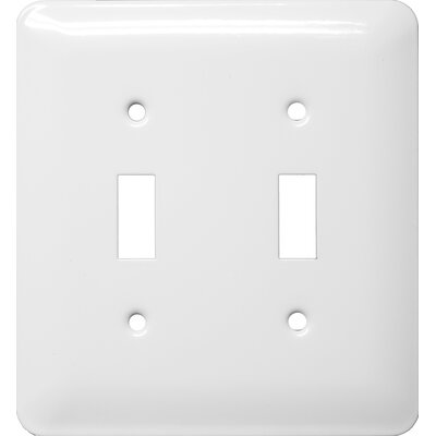 Midsize 2 Gang Toggle Switch Stainless Steel Metal Wall Plates in White