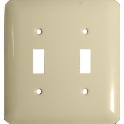 Stainless Steel Metal Wall Plates in Ivory (Set of 3)
