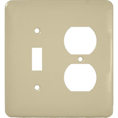 Midsize 1 Toggle 1 Duplex 2 Gang Stainless Steel Metal Wall Plates in Ivory (Set of 3)