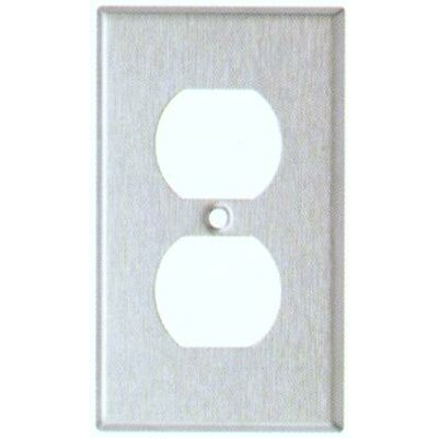 Image of Oversize Duplex Receptacle 1 Gang Stainless Steel Metal Wall Plates