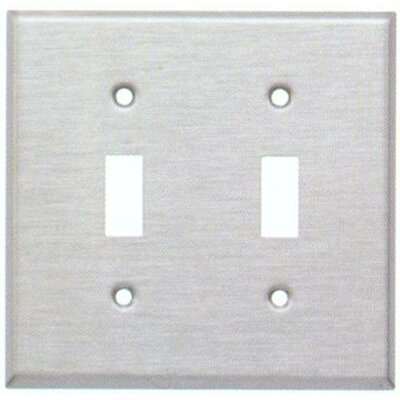 Two Gang and Toggle Switch Metal Wall Plates in White