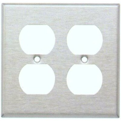 Two Gang and Duplex Receptacle Metal Wall Plates in White