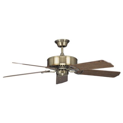 60 Madison 5-Blade Ceiling Fan Finish: Antique Brass with Light / Dark Oak Blades