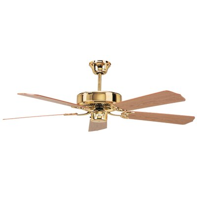 52 California Home 5-Blade Ceiling Fan Finish: Polished Brass with Light/Dark Oak Blades