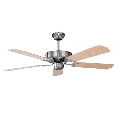52 California Home 5-Blade Ceiling Fan Finish: Stainless Steel with Natural Pine Blades