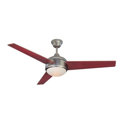 52 Skylark 3-Blade Ceiling Fan with Remote Finish: Satin Nickel with Rosewood / Dark Walnut Blades