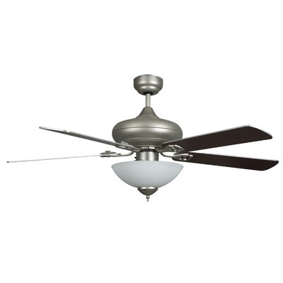 52 Valore Quick Connect 5-Blade Ceiling Fan Motor Finish: Satin Nickel, Blade Finish: Chrome and Rosewood