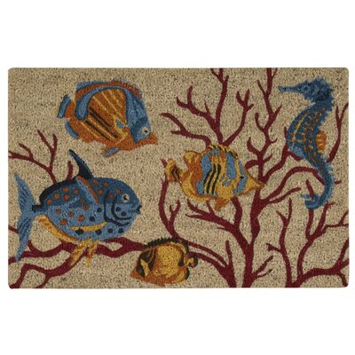 Greetings Swimming Fish Beige Doormat Rug Size: 16 x 24