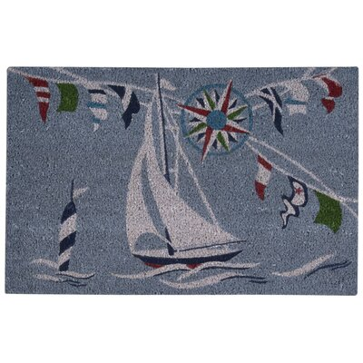 Greetings Sailing Blue Doormat Rug Size: 2 x 3