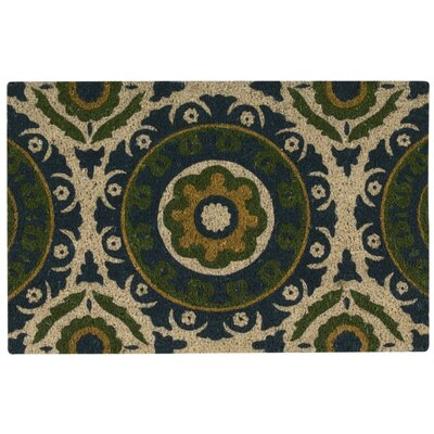 Greetings Solar Flair Doormat Rug Size: 16 x 24, Color: Blue Green