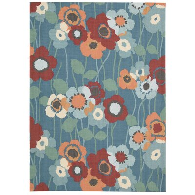 Sun n Shade Pic-A-Poppy Blue/Brown Indoor/Outdoor Area Rug Rug Size: 53 x 75