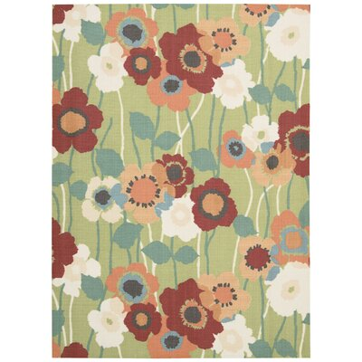 Sun n Shade Pic-A-Poppy Green/Red Indoor/Outdoor Area Rug Rug Size: 53 x 75