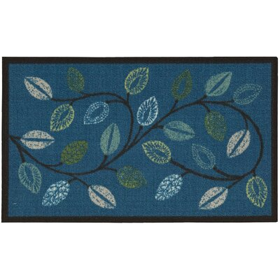 Fancy Free & Easy Leaflet Blue Area Rug Rug Size: 18 x 210